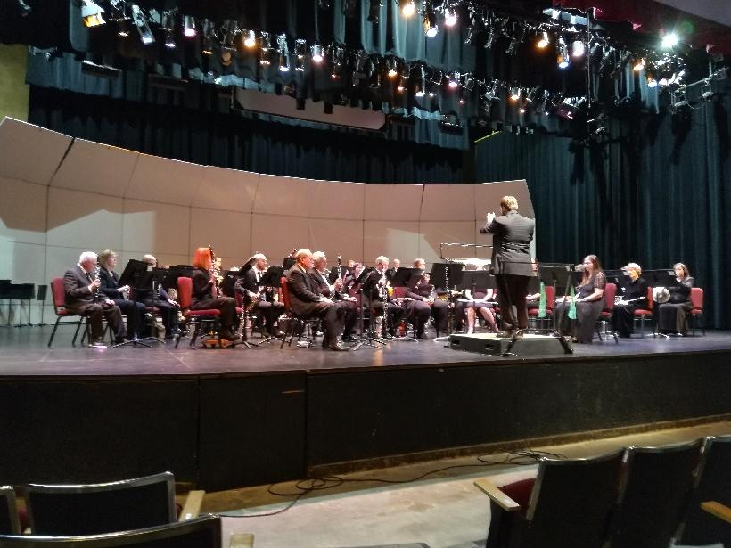 Band rehearsing before March concert